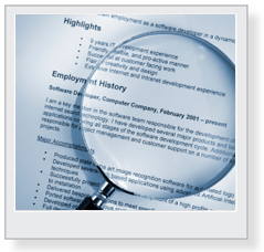 magnifying glass over employment history